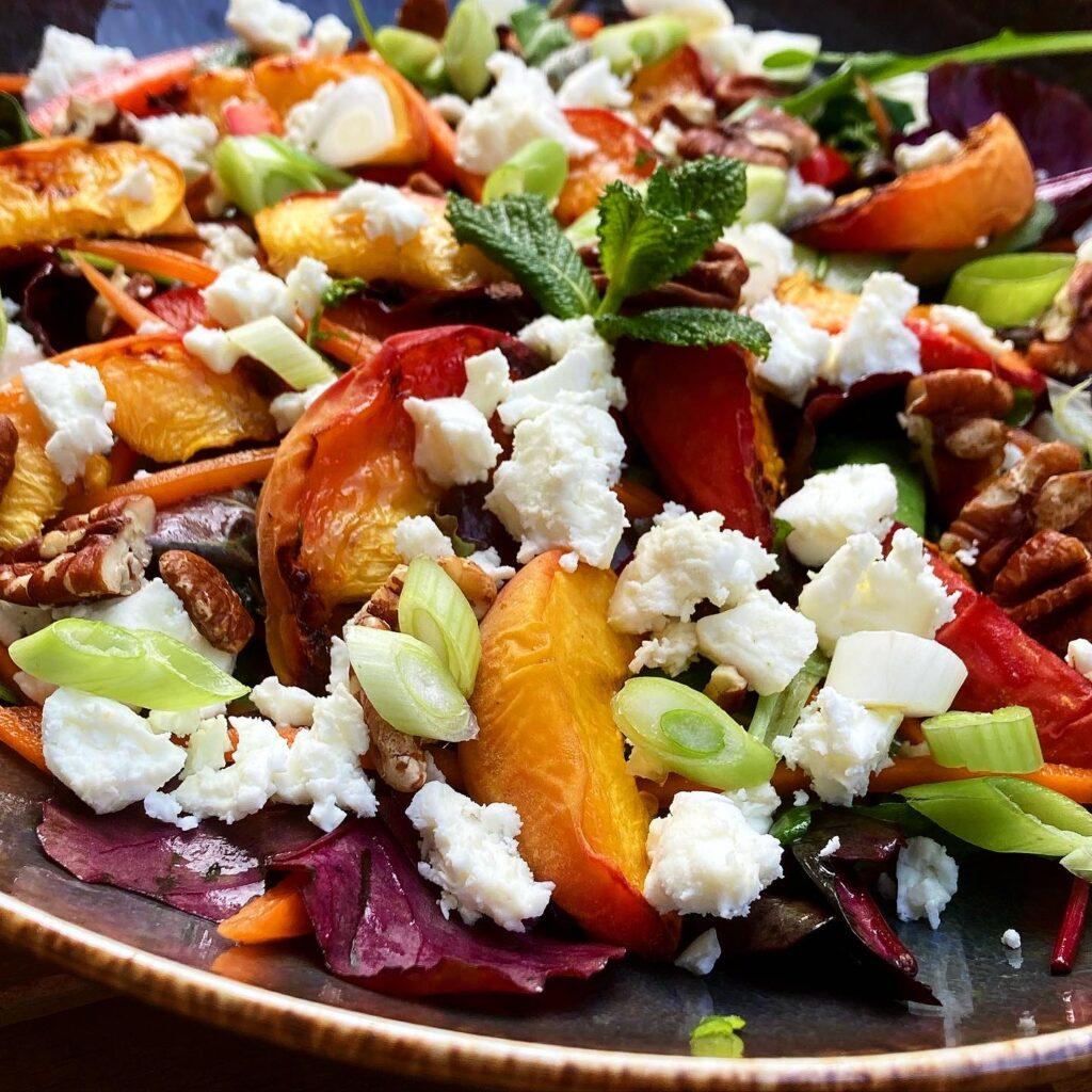 Salade perzik bbq